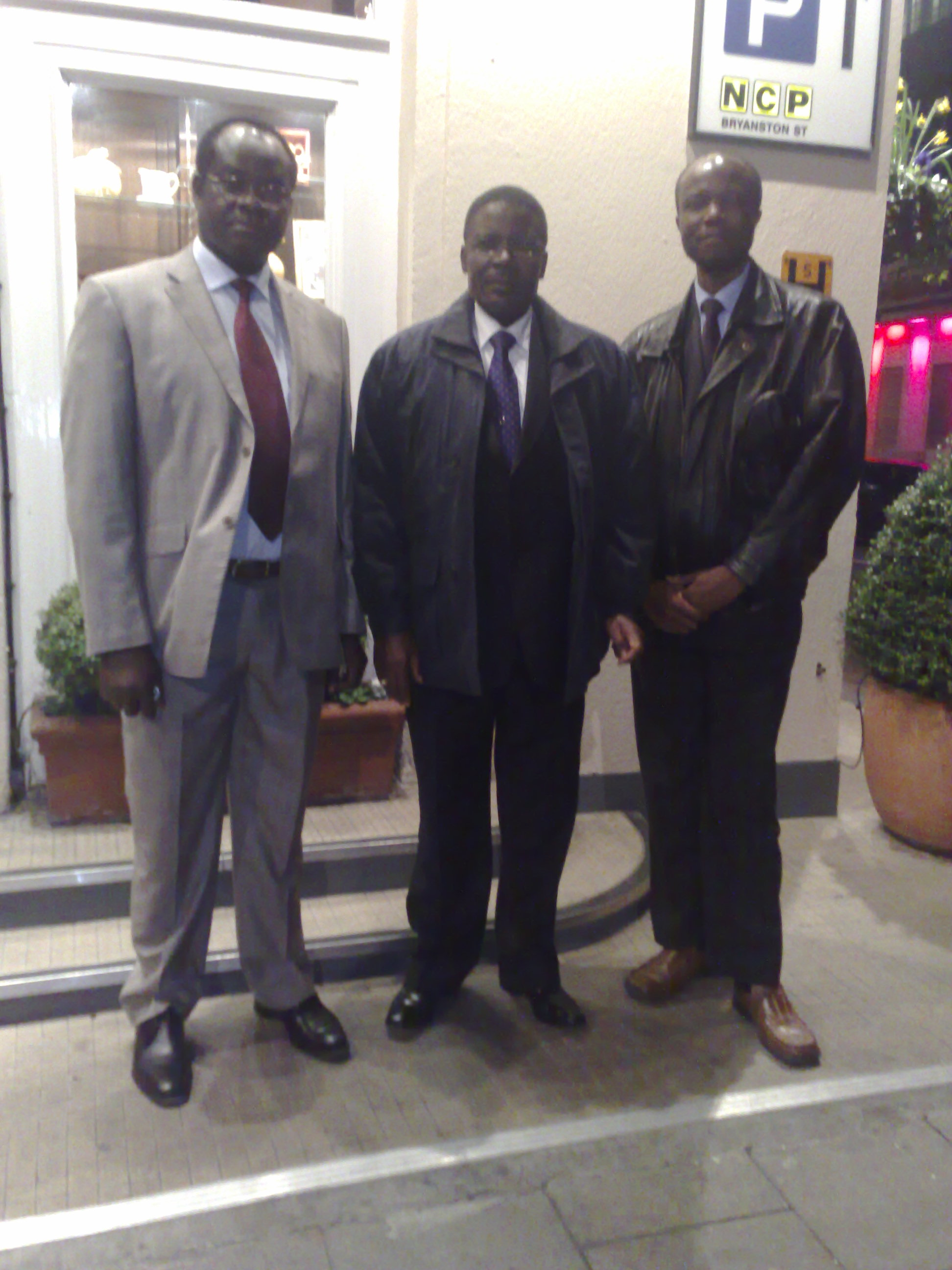L-R: John Baraza, Hon. Marende (ODM) and Isaac Aluochier; London, Feb. 25, 2008