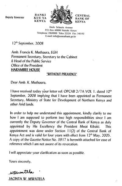 the letter mwatela wrote to muthaura  jaluo dot kom